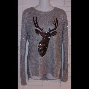 Bethany Mota sequin sparkle reindeer sweater nwt